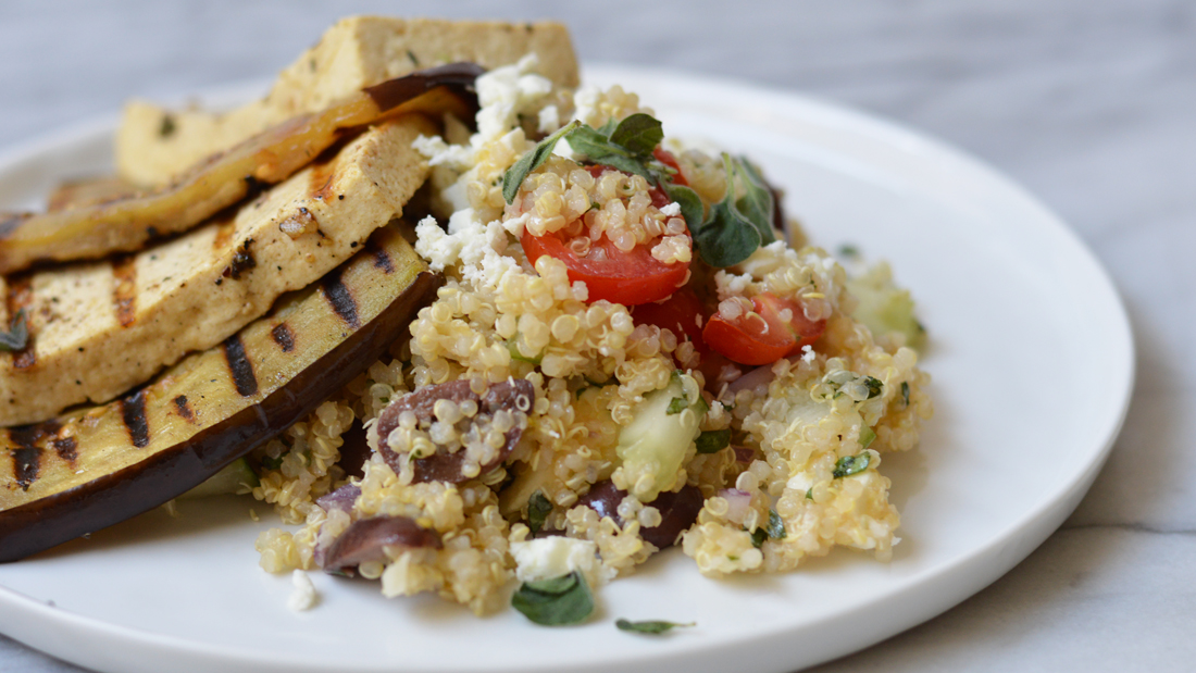 $5 Dinners: Mediterranean Quinoa Salad with Grilled Eggplant and Tofu