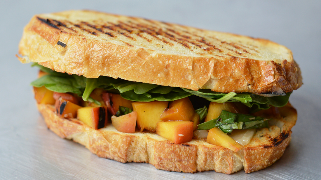 $5 Dinners: Grilled Cheese with Balsamic Peach Salsa and Spinach