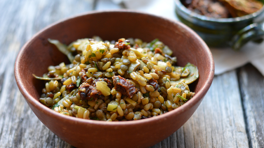 Chef Alex's Lunchbox: Freekeh-Lentil Salad with Artichokes and Preserved Lemon